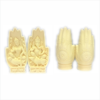 Laxmi & Ganesh in Carved Palm - Ivory